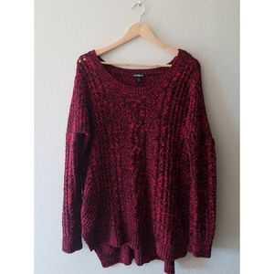 Express black and red oversized sweater